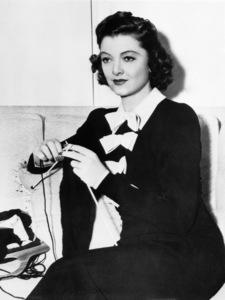 Myrna Loy knitting a sweater1940 - Image 0771_0601