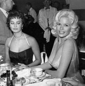 Jayne Mansfield and Sophia Loren at Romanoff