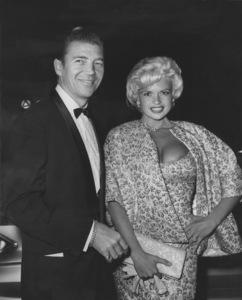 "Jayne Mansfield with husband Mickey Hargitay at the premiere of ""Breakfast At Tiffany"