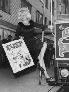 """Jayne Mansfield on a cable car in San Francisco promoting her new book """"Mansfield For President""""1964 - Image 0774_0618"""