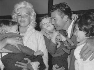 Jayne Mansfield holding Zoltan with husband Mickey Hargitay holding Miklos and Jayne Marie Circa 1962 - Image 0774_0631