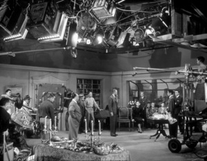 """James Stewart, Alfred Hitchcock, and Caston the set of """"Rope."""" 1948 Warner - Image 0802_0920"""