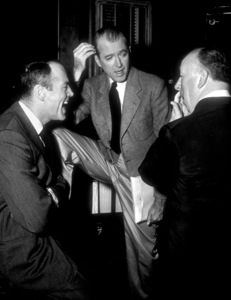 James Stewart with Henry Fonda and Alfred Hitchcock, 1957.Photo by Floyd McCarty - Image 0802_0923