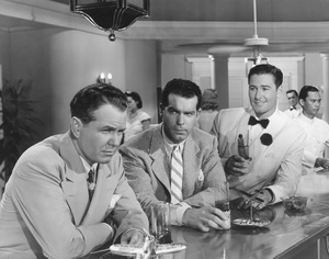 """Errol Flynn with Fred MacMurray and Ralph Bellamy in """"Dive Bomber""""1941 Warner BrothersPhoto by Morgan - Image 0803_0012"""