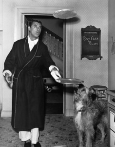 "Cary Grant and dog on the set of ""Room for One More""1952Photo by Jack Albin - Image 0807_0014"