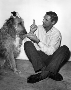 "Cary Grant and dog on the set of ""Room for One More""1952Photo by Jack Albin - Image 0807_0148"