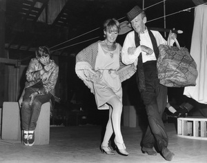 """Fred Astaire with Petula Clark and Tommy Steele in rehearsal for """"Finian"""