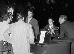 "Elvis Presley preparing for ""The Ed Sullivan Show"" in Los Angeles 9-9-56 CBSPhoto by Gabi Rona - Image 0818_0016"