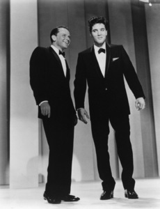 """Frank Sinatra with Elvis Presley during the taping of """"The Frank Sinatra Timex Show: Welcome Home Elvis"""" 1960 - Image 0818_0054"""