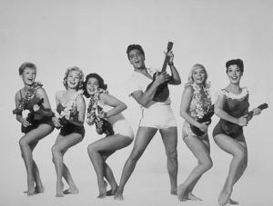 "Elvis Presley, P.Akert, Darlene Tompkins,Joan Blackman, J.Marshall, and ChristianKay in ""Blue Hawaii""1961 Paramount - Image 0818_0087"