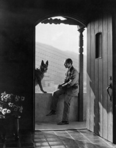 """Rudolph Valentino at his Whitley Heights home with his German Shepherd named """"Sheik""""circa 1923** I.V. - Image 0819_0400"""