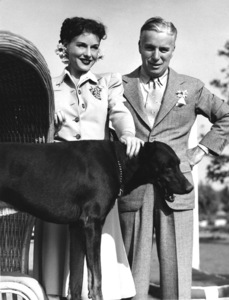 Charles Chaplin and Paulette Goddard at Louella Parsons country place1941** I.V. - Image 0860_0783