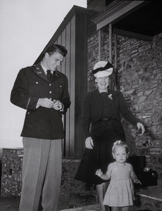 Ronald Reagan in uniform with his mother anddaughter Maureen1942MPTV - Image 0871_0033