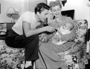 Ronald Reagan at home with first wife Jane Wyman and their daughter MaureenC. 1942MPTV - Image 0871_0081