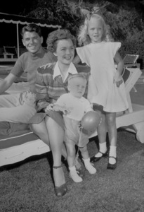 Ronald Reagan with wife Jane Wyman, son Michaeland daughter Maureen1946MPTV - Image 0871_0639