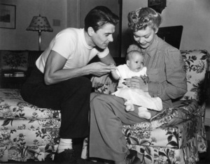 Ronald Reagan at home with wife Jane Wyman and daughter Maureencirca 1942 - Image 0871_1130