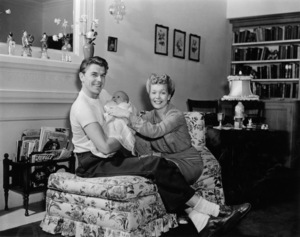 Ronald Reagan at home with wife Jane Wyman and daughter Maureencirca 1942 - Image 0871_1131