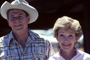 Ronald Reagan with wife, Nancy Reagan, at Rancho del Cielo in Santa Ynez, CA1980© 1980 Gunther - Image 0871_1586