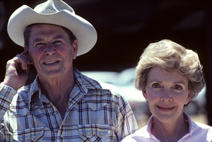 Ronald Reagan with wife, Nancy Reagan, at Rancho del Cielo in Santa Ynez, CA1980© 1980 Gunther - Image 0871_1587