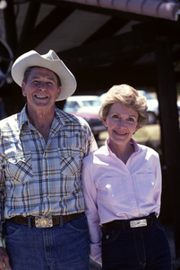 Ronald Reagan with wife, Nancy Reagan, at Rancho del Cielo in Santa Ynez, CA1980© 1980 Gunther - Image 0871_1588