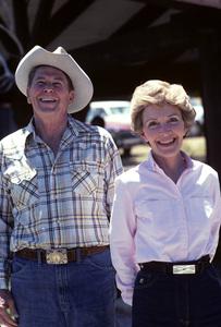 Ronald Reagan with wife, Nancy Reagan, at Rancho del Cielo in Santa Ynez, CA1980© 1980 Gunther - Image 0871_1589
