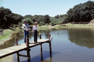 Ronald Reagan with wife, Nancy Reagan, at Rancho del Cielo in Santa Ynez, CA1980© 1980 Gunther - Image 0871_1593
