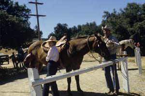 Ronald Reagan with wife, Nancy Reagan, at Rancho del Cielo in Santa Ynez, CA1980© 1980 Gunther - Image 0871_1597