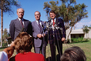 Ronald Reagan with Gerald R. Ford and the press1978 © 1978 GuntherMPTV - Image 0871_1616