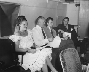 Ronald Reagan with Janis Paige, Jack Warner and James Stewart for Mutual Network Air Force Day Broadcast 1944 © 1978 Floyd McCarty MPTV  - Image 0871_1696