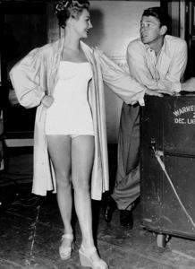 Ronald Reagan behind the scenes at Warner Bros.studios with Virginia Mayo1948MPTV - Image 0871_1718