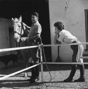 Ronald and Nancy Reagan at their ranch in the Santa Monica mountains circa 1966 © 1978 Gene Trindl - Image 0871_1744