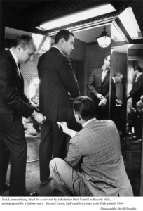 Jack Lemmon being fitted for a new suit by habedasher Dick Carroll and his publicist Richard Carter 1964 © 1978 Bob Willoughby - Image 0894_0219