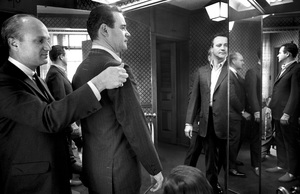Beverly Hills haberdasher Dick Carroll fits Jack Lemmon with one of his famous no shoulder suits1964© 1978 Bob Willoughby - Image 0894_0220
