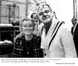 """Jack Lemmon with his mother onthe set of """"Great Race, The""""Photo taken in 1964. © 1978 Bob Willoughby - Image 0894_0221"""
