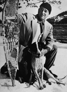 """John Wayne on location at Donner Lake in the High Sierras for """"Island in the Sky,"""" Warner Bros. 1953. - Image 0898_2083"""