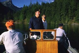 John Wayne fishing with Jim Cunningham and Ken Reafsnyder, 1971. © 1978 David Sutton - Image 0898_3085