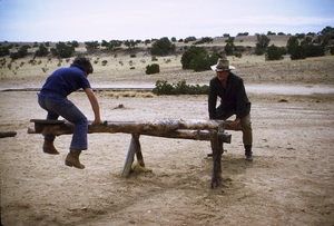 """John Wayne and his son, Ethan, during a break from filming """"The Cowboys,"""" Warner Bros. 1971. © 1978 David Sutton - Image 0898_3093"""