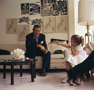 John Wayne and his daughter Aissa at home on Louise Street in Encino, California 1958 © 1978 Bernie Abramson - Image 0898_3113