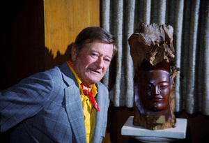 John Wayne with his Hawaiian Academy Award at home, 1972. © 1978 David Sutton - Image 0898_3228