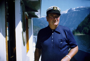 "John Wayne on his yacht, ""Wild Goose,"" 1971. © 1978 David Sutton - Image 0898_3246"