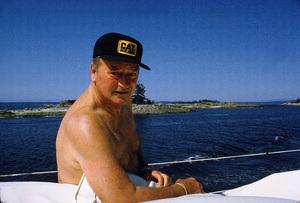 "John Wayne on his yacht, ""Wild Goose,"" 1971. © 1978 David Sutton - Image 0898_3301"
