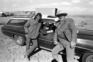 "John Ford visiting John Wayne and Mark Rydell on the set of ""The Cowboys""1971 © 1978 David Sutton - Image 0898_3398"
