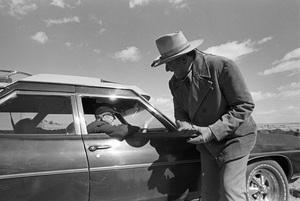 "John Ford visiting John Wayne on the set of ""The Cowboys""1971 © 1978 David Sutton - Image 0898_3400"
