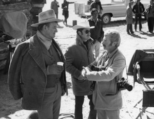 "John Wayne and photographer David Sutton on the set of ""The Cowboys""1972 © 1978 David Sutton - Image 0898_3424"