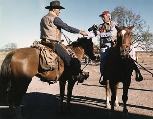 "John Wayne and photographer David Sutton on the set of ""Chisum""1970 © 1978 David Sutton - Image 0898_3429"