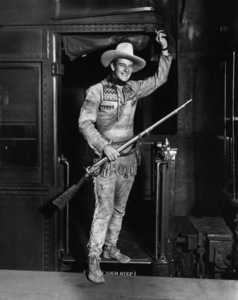 "John Wayne disembarking train, costumed for ""The Big Trail"" 1930 ** I.V. - Image 0898_3467"