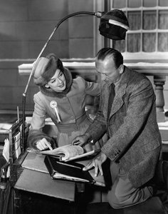"""Rosalind Russell and director Michael Curtiz on the set of """"Roughly Speaking""""1945 - Image 0952_0824"""