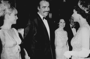 """Sean Connery with wife, Diane andQueen Elizabeth at World Charity Premiereof """"You Only Live Twice,"""" 6/12/67 - Image 0955_0680"""
