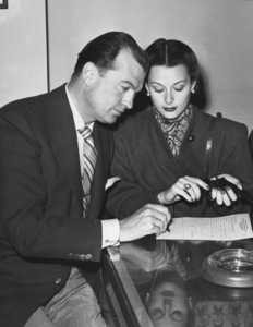 Hedy Lamarr and husband John Loder take out permit for carrying a gun after robbery1946 - Image 0958_0125