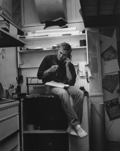 Tab Hunter talking to customer on phone in back room of his storecirca 1962Photo by Joe Shere - Image 0961_0801